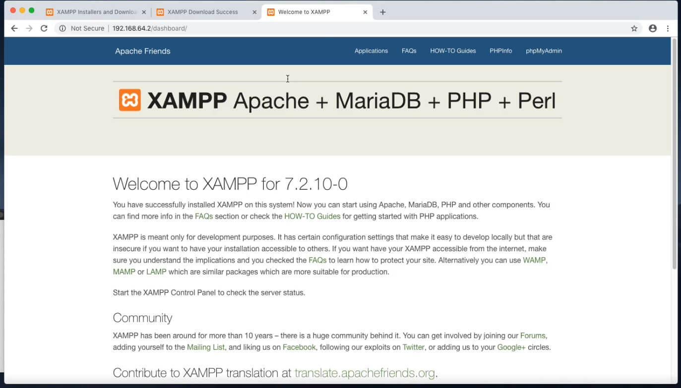 xampp-vm стартовая страница