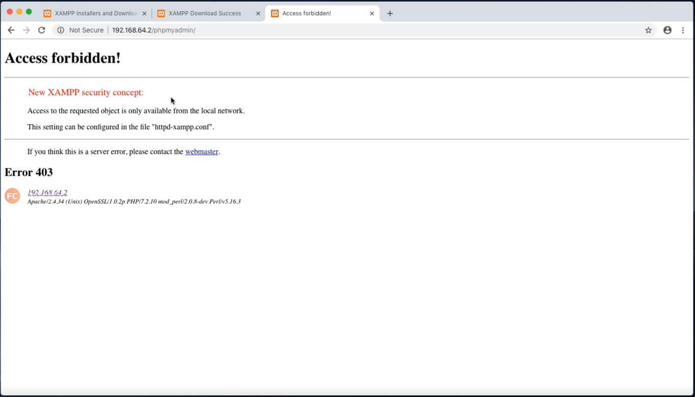 xampp-vm phpmyadmin access forbidden!